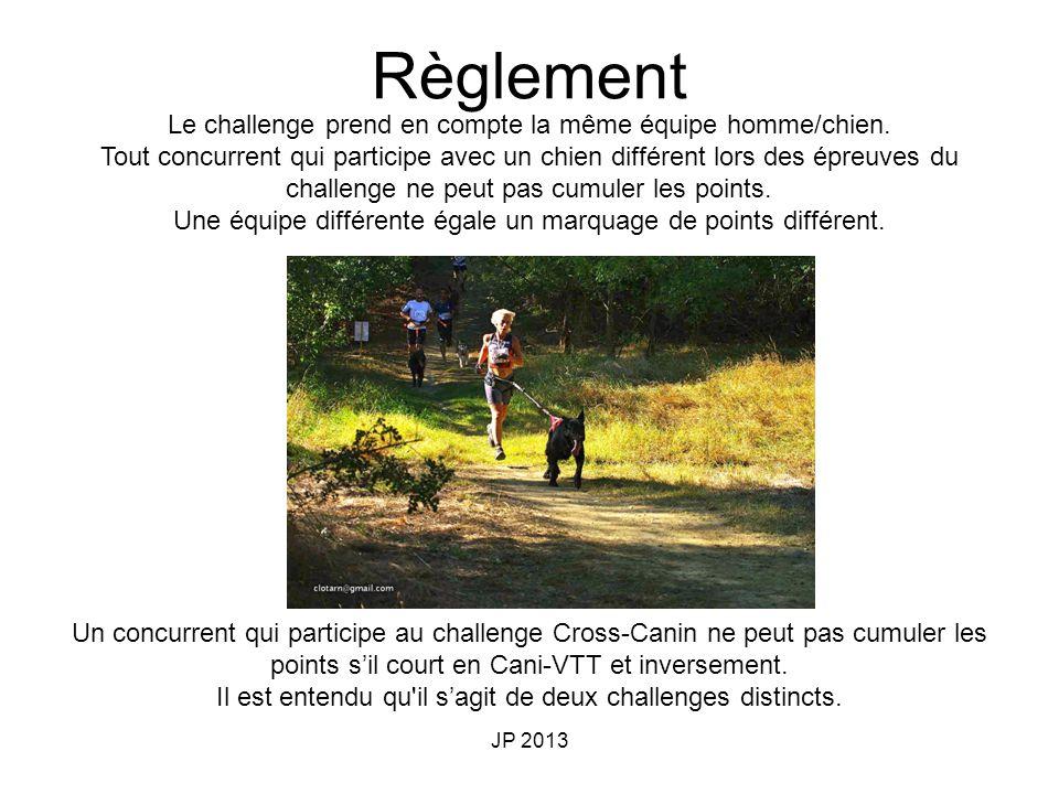 Règlement Le challenge prend en compte la même équipe homme/chien.