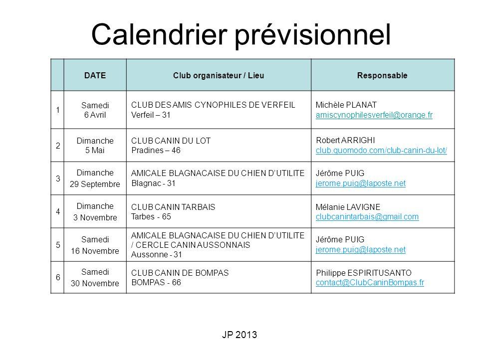 Club organisateur / Lieu