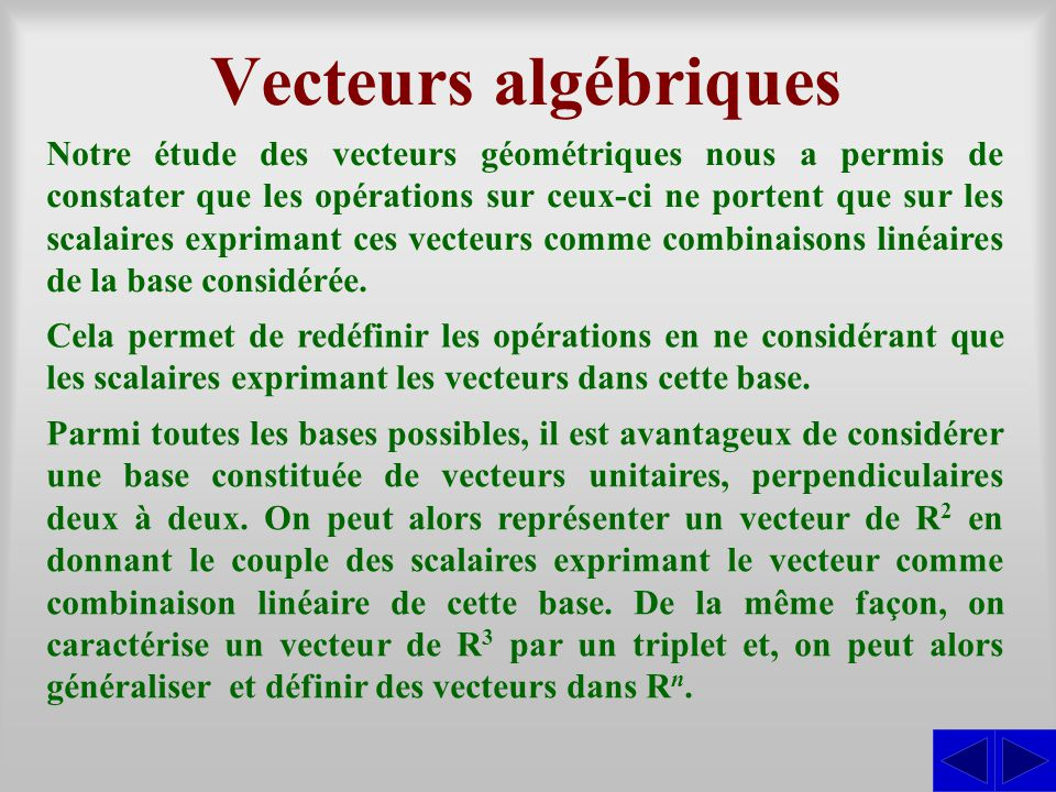 Vecteurs algébriques