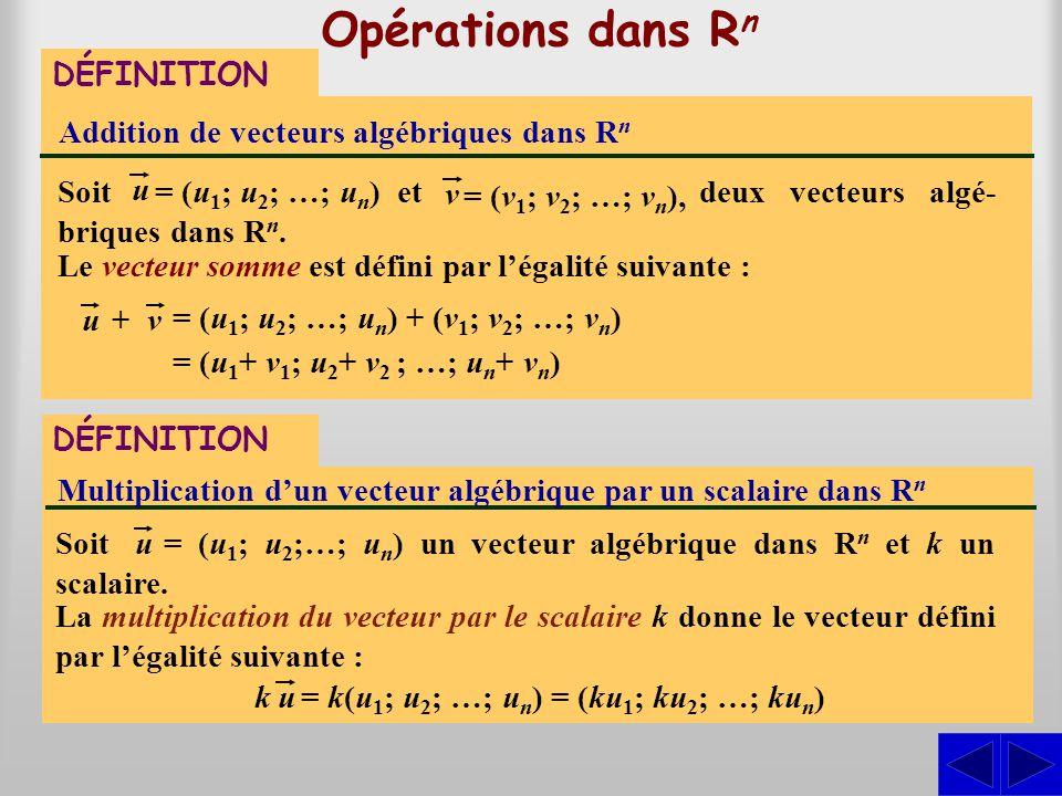 Opérations dans Rn DÉFINITION Addition de vecteurs algébriques dans Rn