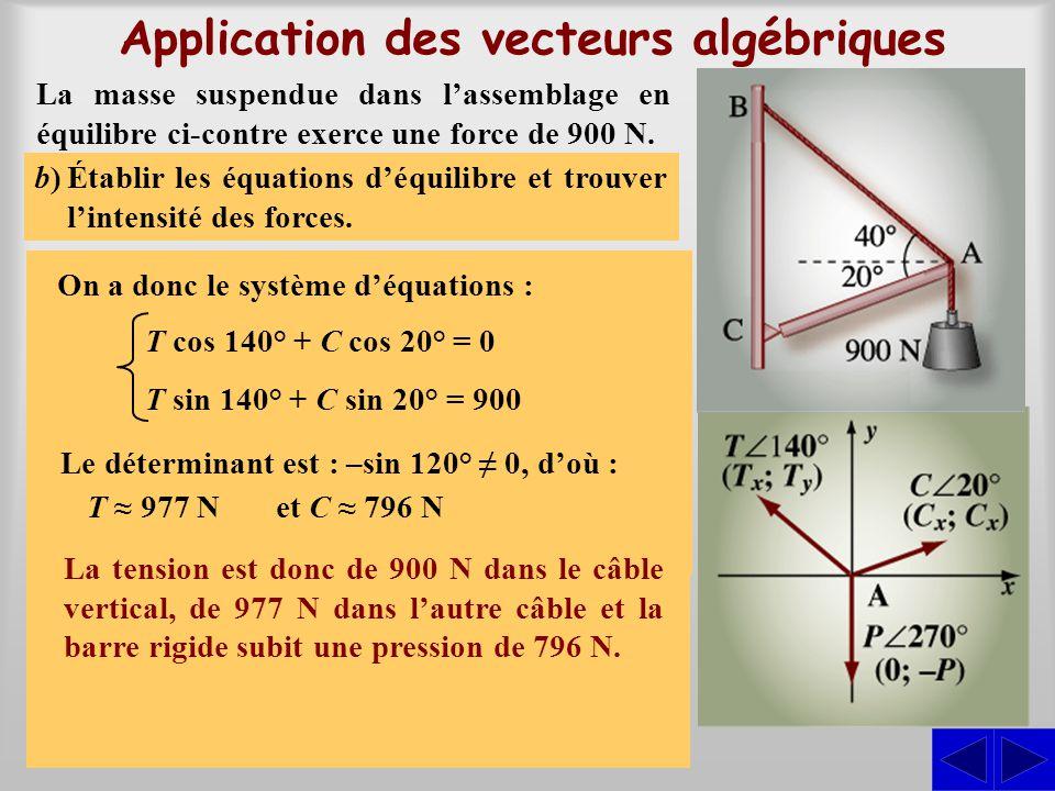 Application des vecteurs algébriques