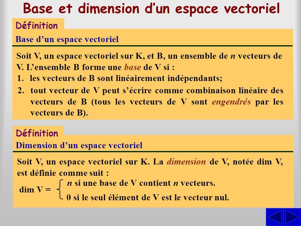 Base et dimension d'un espace vectoriel