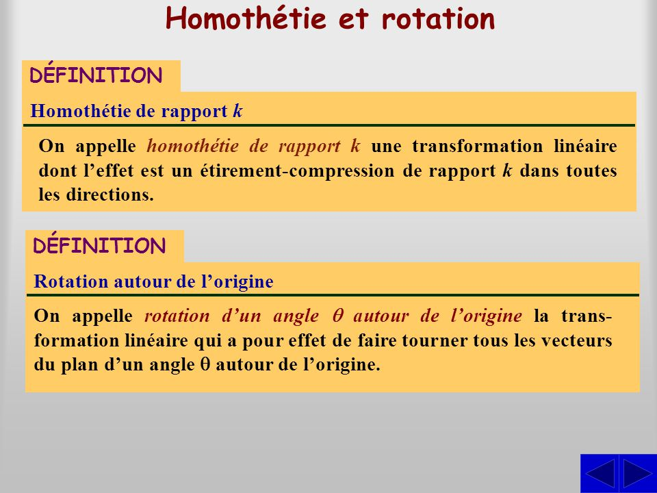 Homothétie et rotation