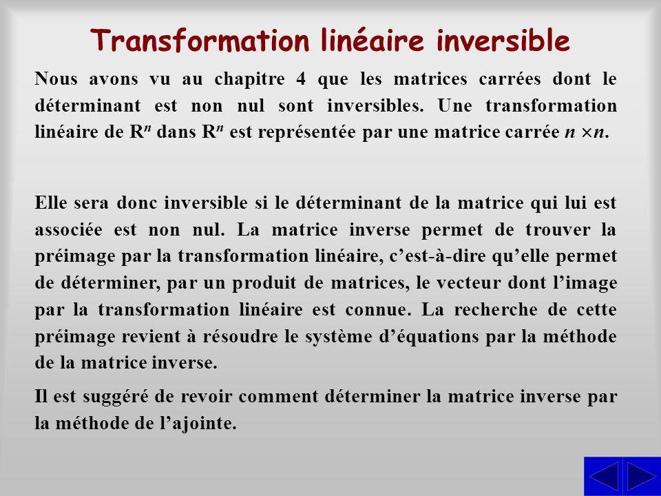 Transformation linéaire inversible