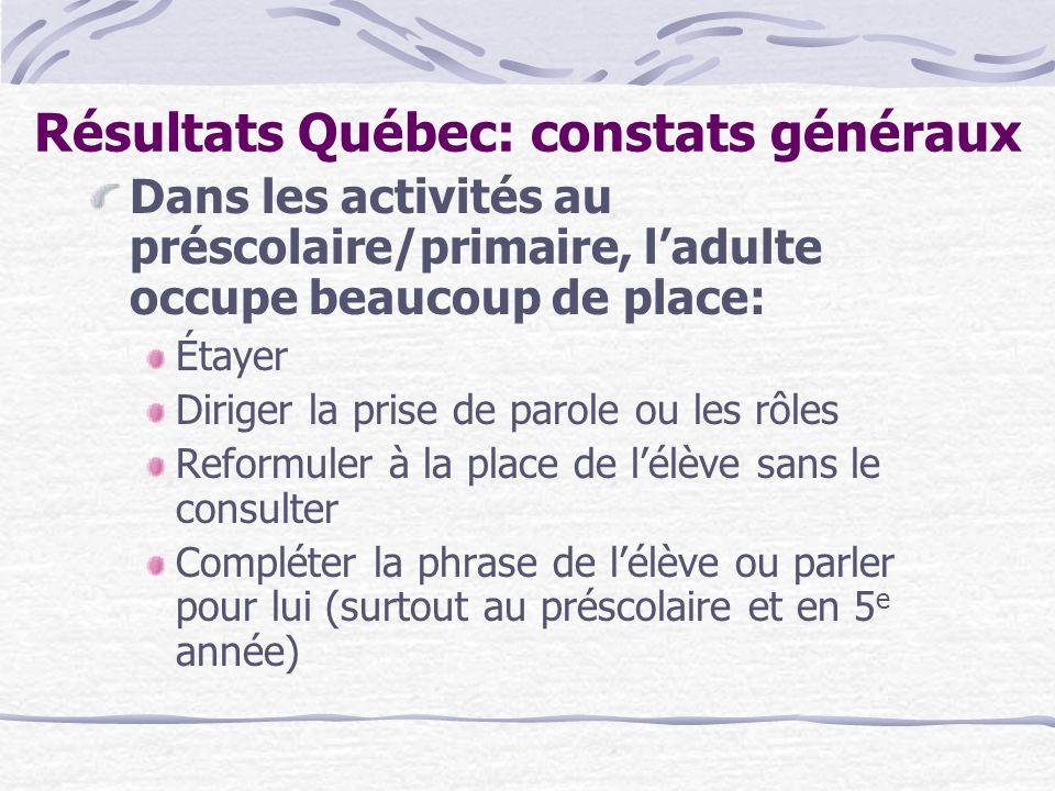 Résultats Québec: constats généraux