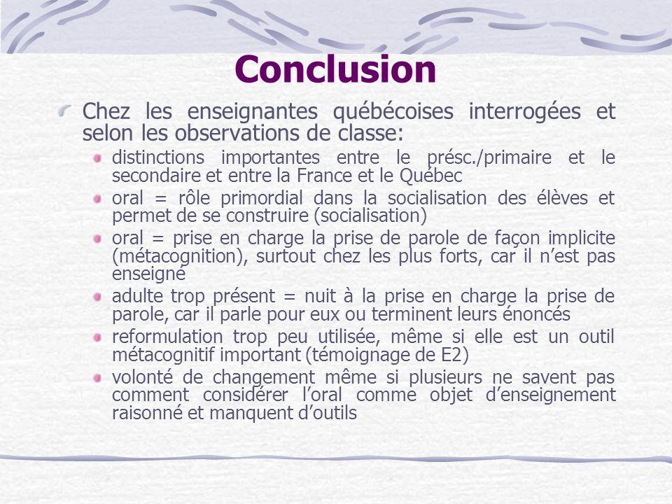Conclusion Chez les enseignantes québécoises interrogées et selon les observations de classe: