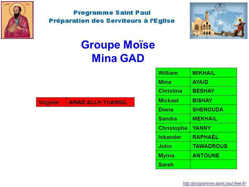 Groupe Moïse Mina GAD William MIKHAIL Mina AYAID Christina BESHAY