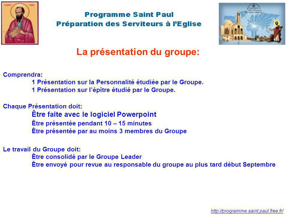 La présentation du groupe:
