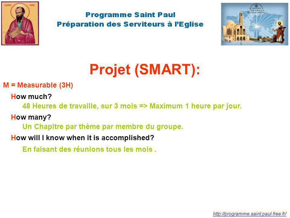Projet (SMART): M = Measurable (3H) How much
