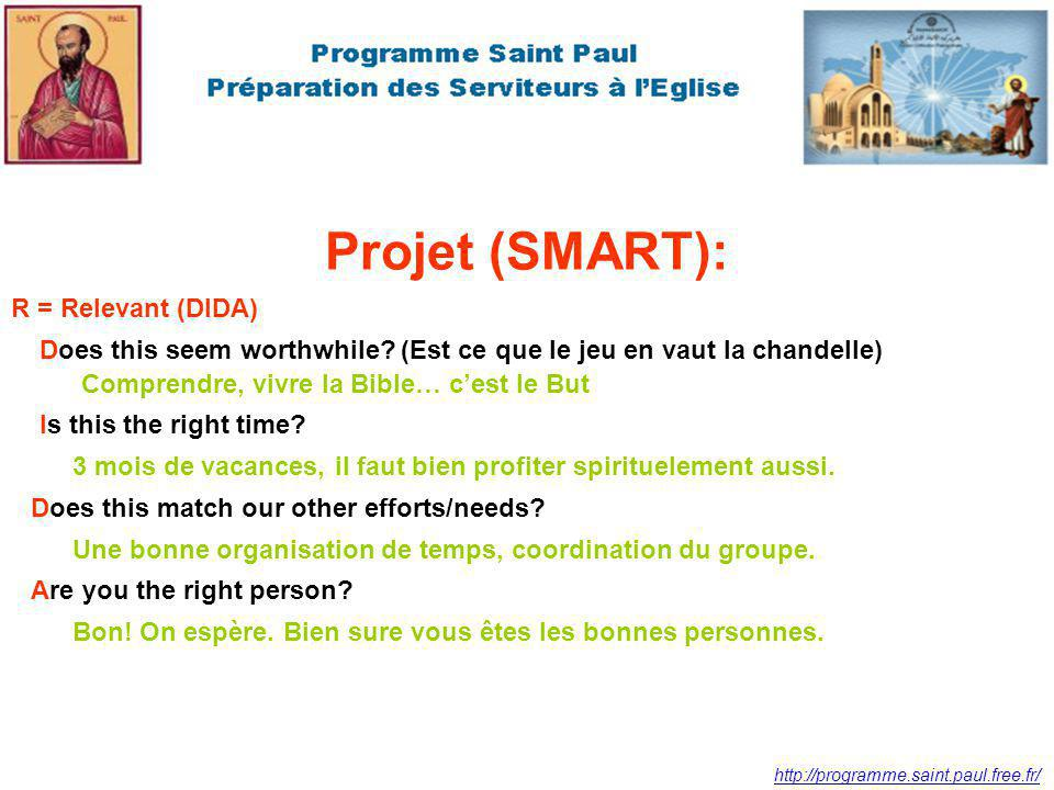 Projet (SMART): R = Relevant (DIDA)