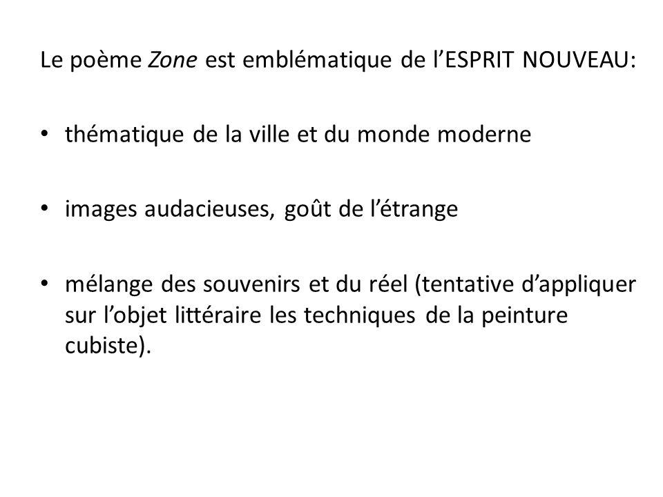 Le poème Zone est emblématique de l'ESPRIT NOUVEAU: