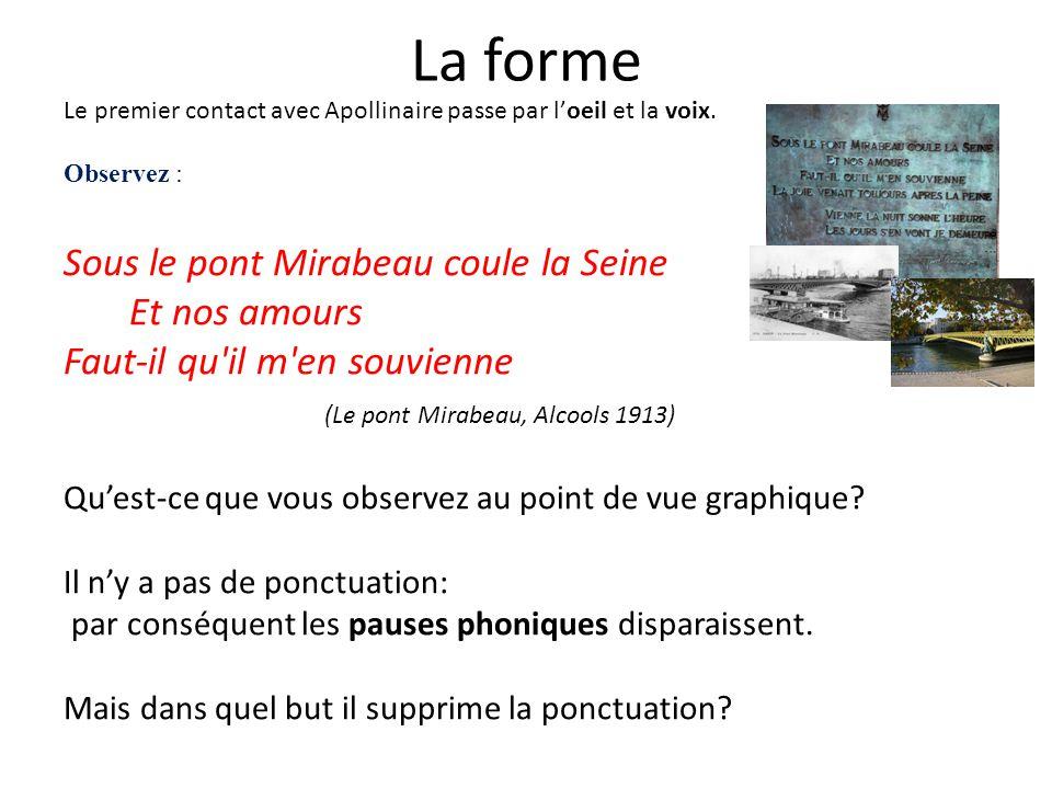 La forme Sous le pont Mirabeau coule la Seine Et nos amours