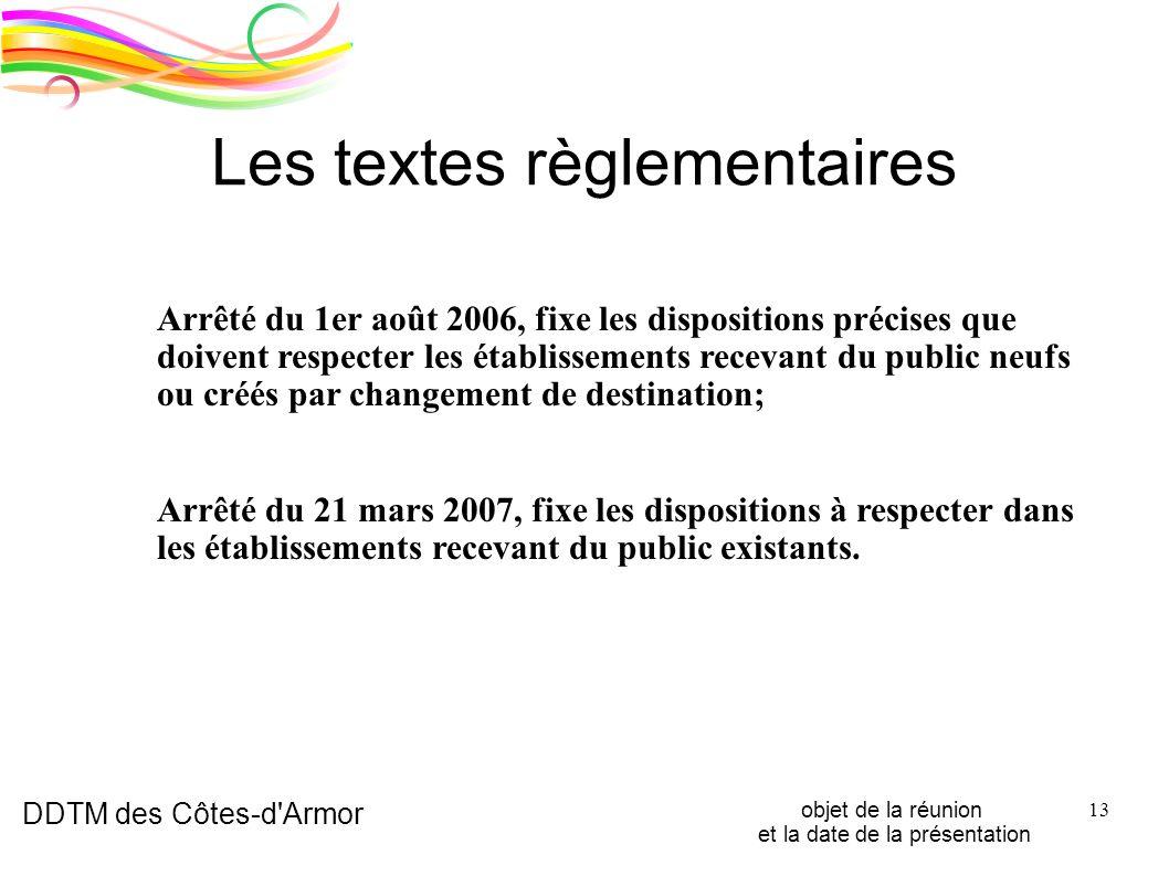 Les textes règlementaires