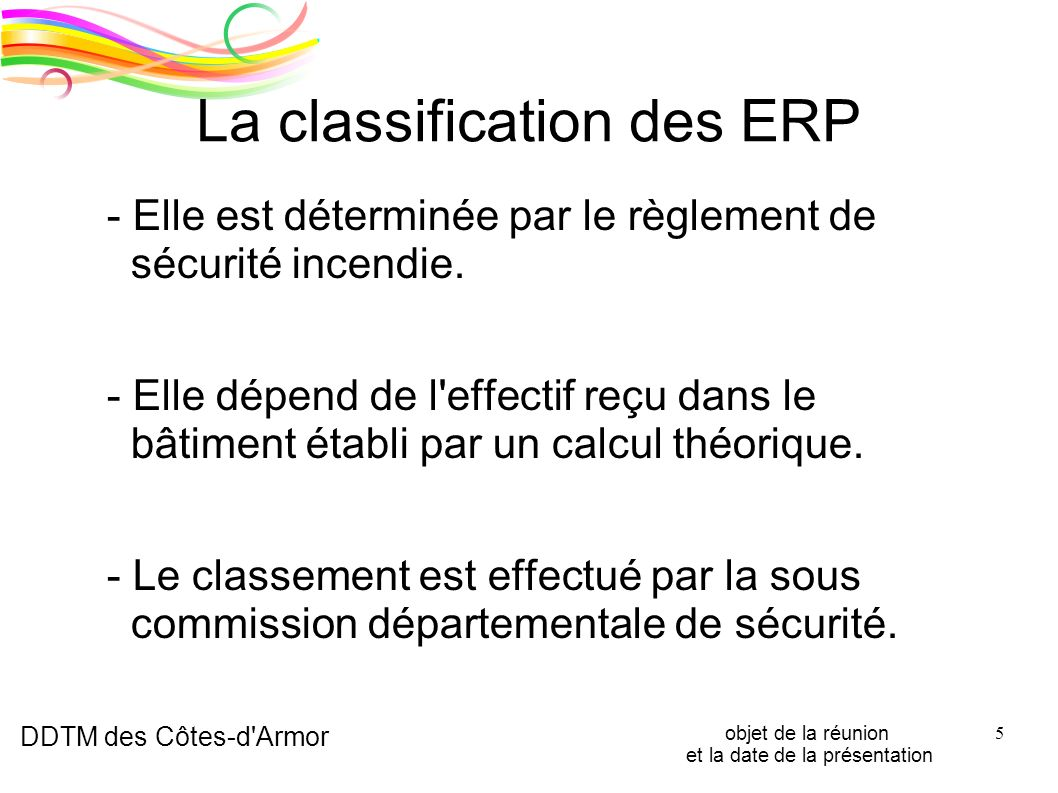 La classification des ERP