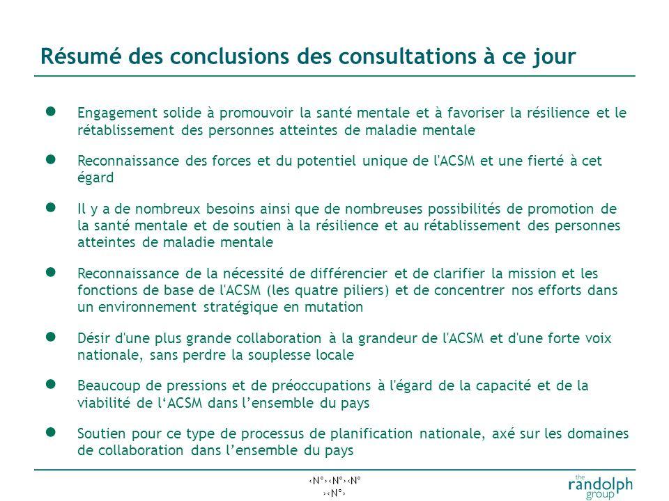 Résumé des conclusions des consultations à ce jour