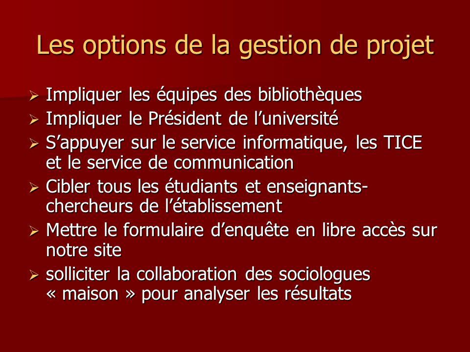 Les options de la gestion de projet