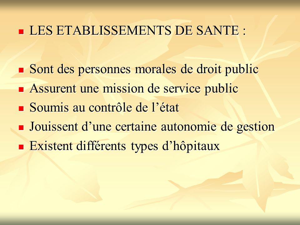 LES ETABLISSEMENTS DE SANTE :