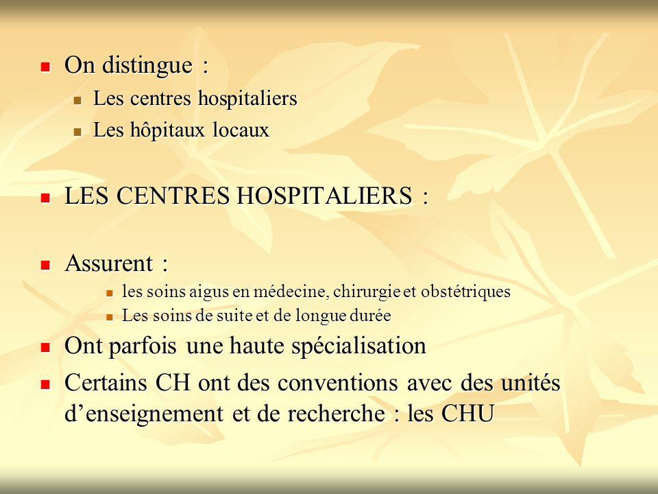 LES CENTRES HOSPITALIERS : Assurent :