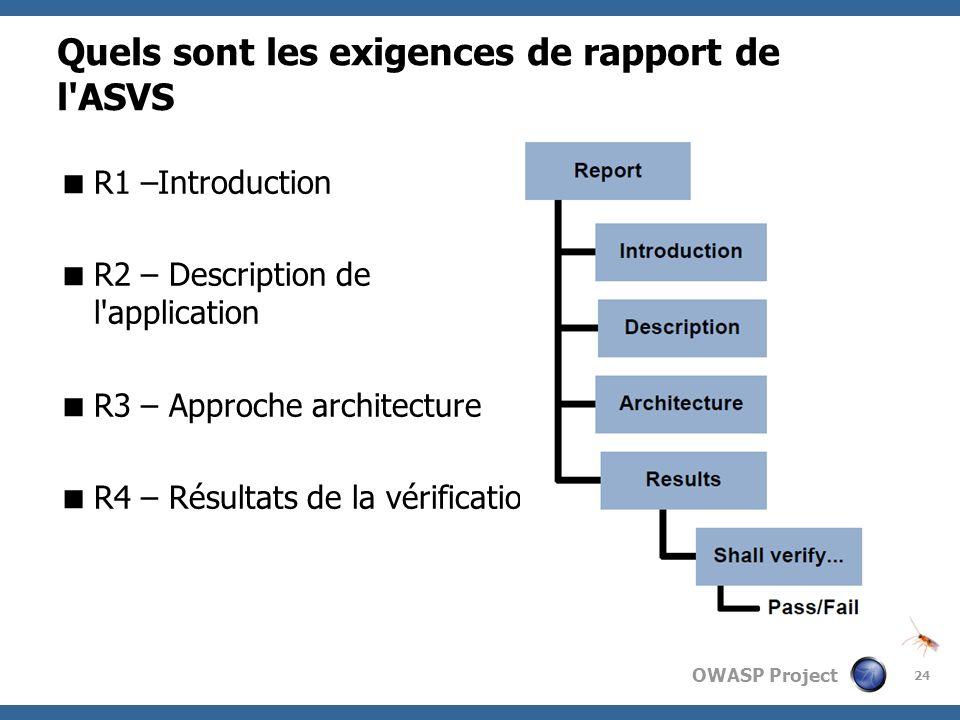 Quels sont les exigences de rapport de l ASVS