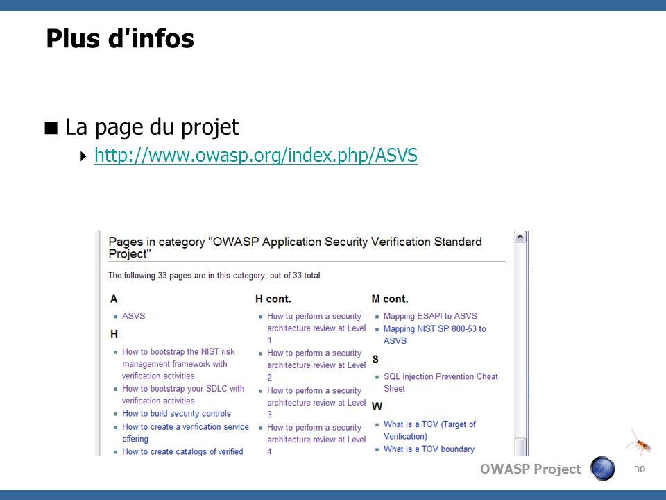 Plus d infos La page du projet http://www.owasp.org/index.php/ASVS