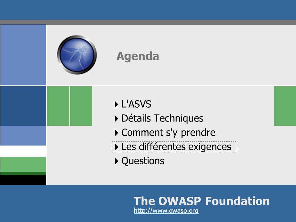 Agenda The OWASP Foundation L ASVS Détails Techniques