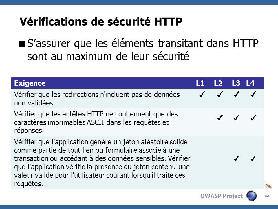 Vérifications de sécurité HTTP