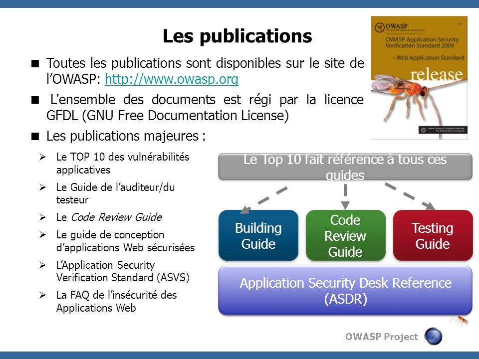 Les publicationsToutes les publications sont disponibles sur le site de l'OWASP: http://www.owasp.org.