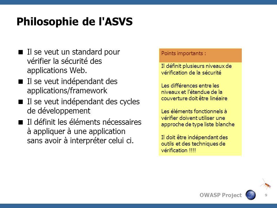 Philosophie de l ASVSIl se veut un standard pour vérifier la sécurité des applications Web. Il se veut indépendant des applications/framework.