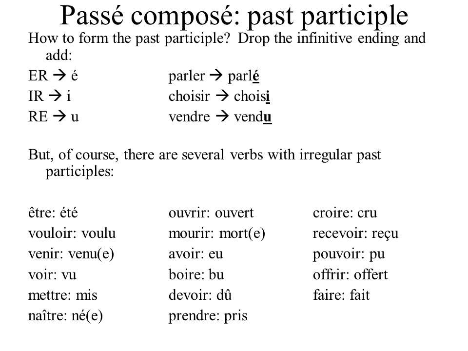 Passé composé: past participle