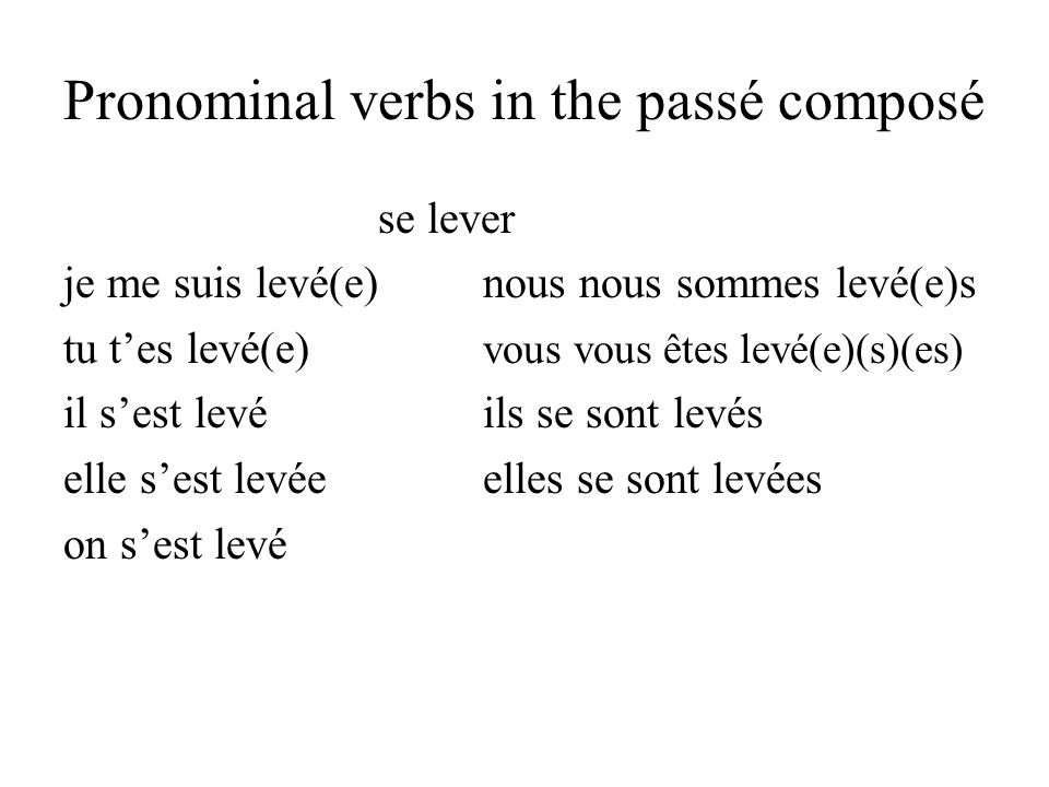 Pronominal verbs in the passé composé