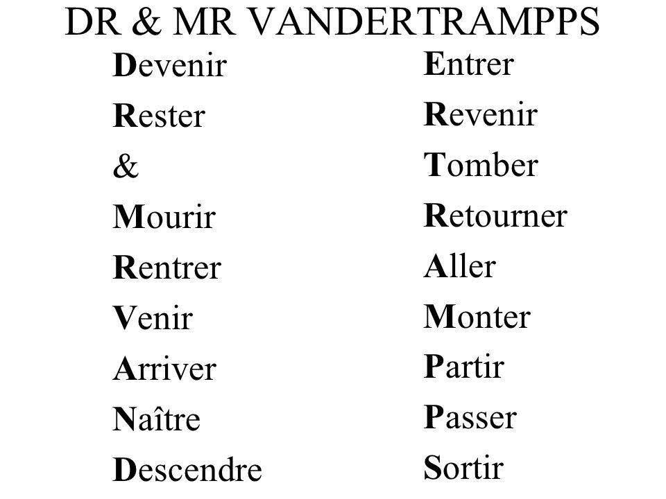 DR & MR VANDERTRAMPPS Entrer Devenir Rester Revenir & Tomber Mourir