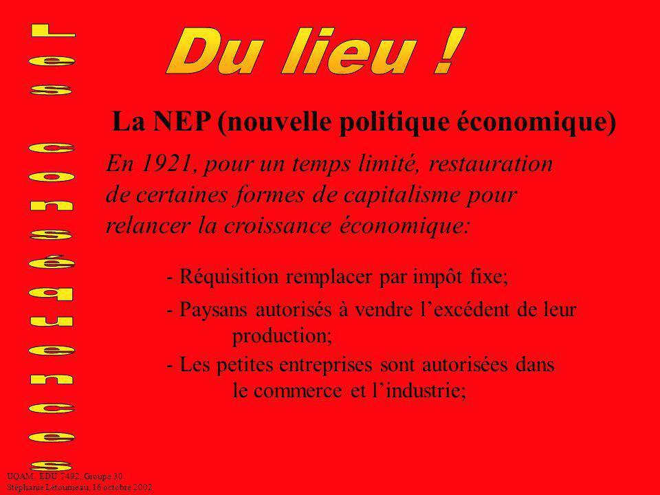 Du lieu ! Les conséquences La NEP (nouvelle politique économique)