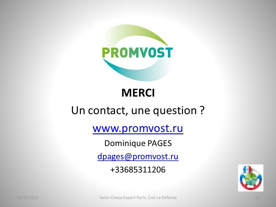 Un contact, une question www.promvost.ru