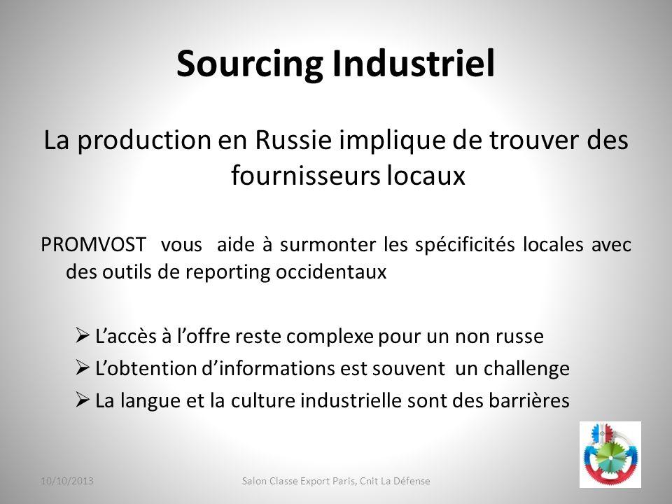 Sourcing Industriel La production en Russie implique de trouver des fournisseurs locaux.