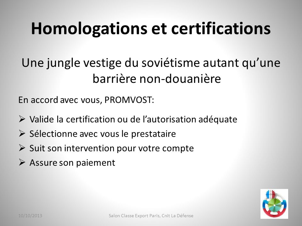 Homologations et certifications
