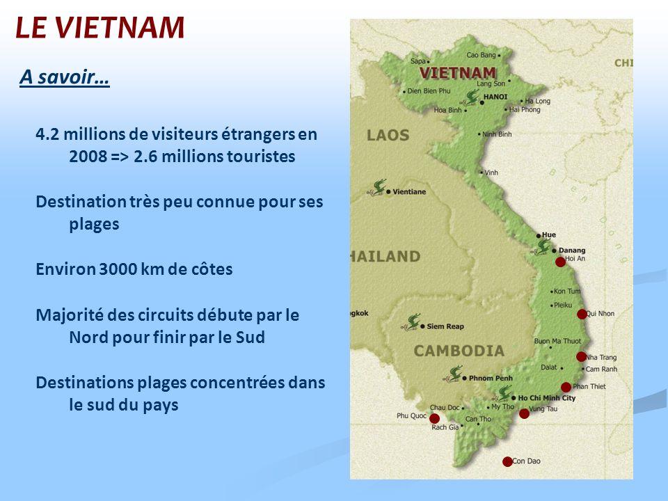 LE VIETNAM A savoir… 4.2 millions de visiteurs étrangers en 2008 => 2.6 millions touristes. Destination très peu connue pour ses plages.