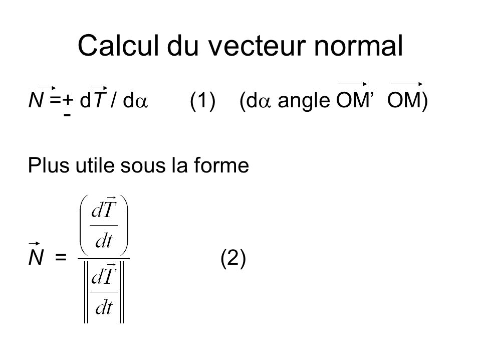 Calcul du vecteur normal