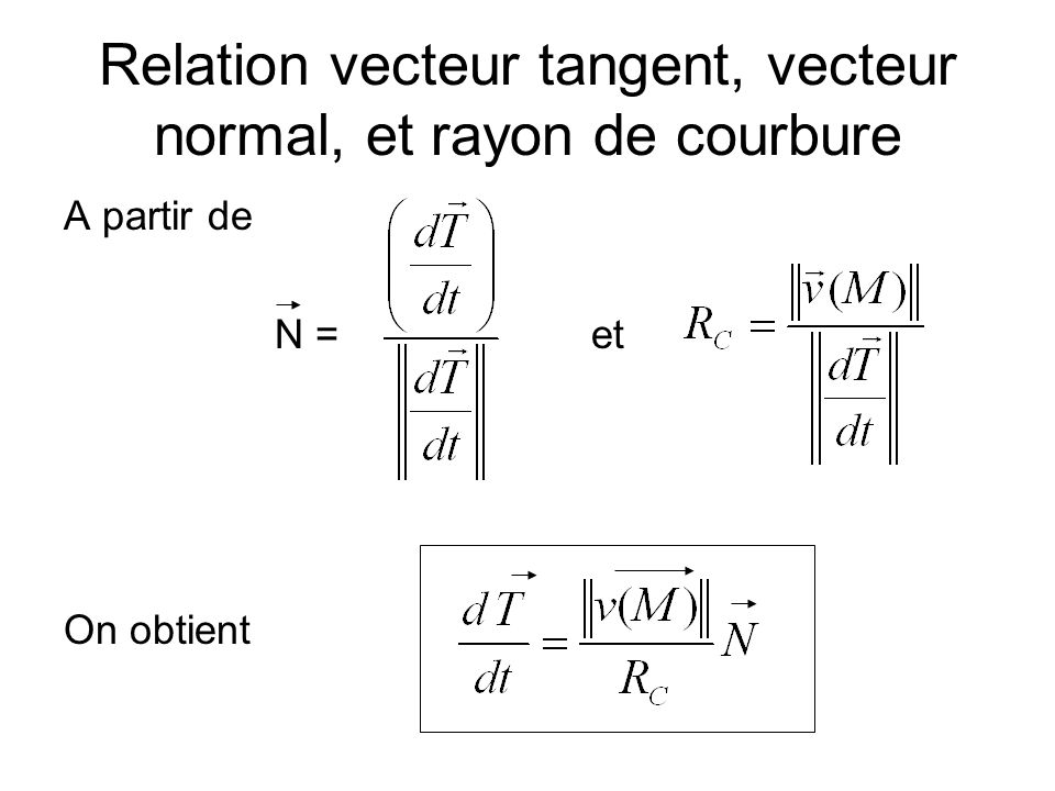 Relation vecteur tangent, vecteur normal, et rayon de courbure