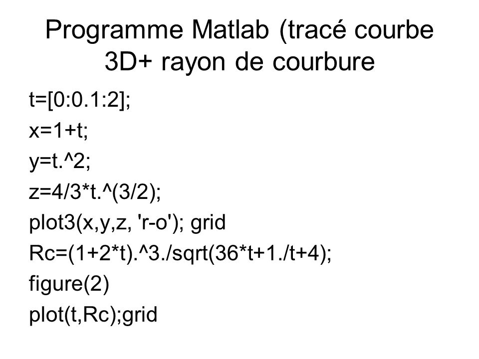 Programme Matlab (tracé courbe 3D+ rayon de courbure