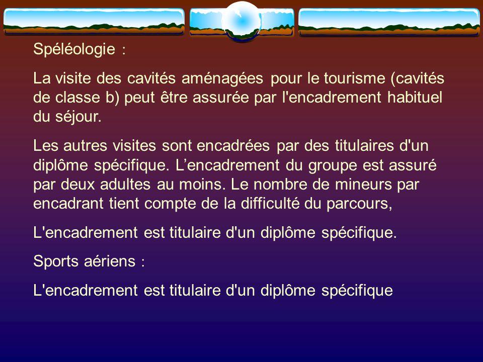 Spéléologie : La visite des cavités aménagées pour le tourisme (cavités de classe b) peut être assurée par l encadrement habituel du séjour.
