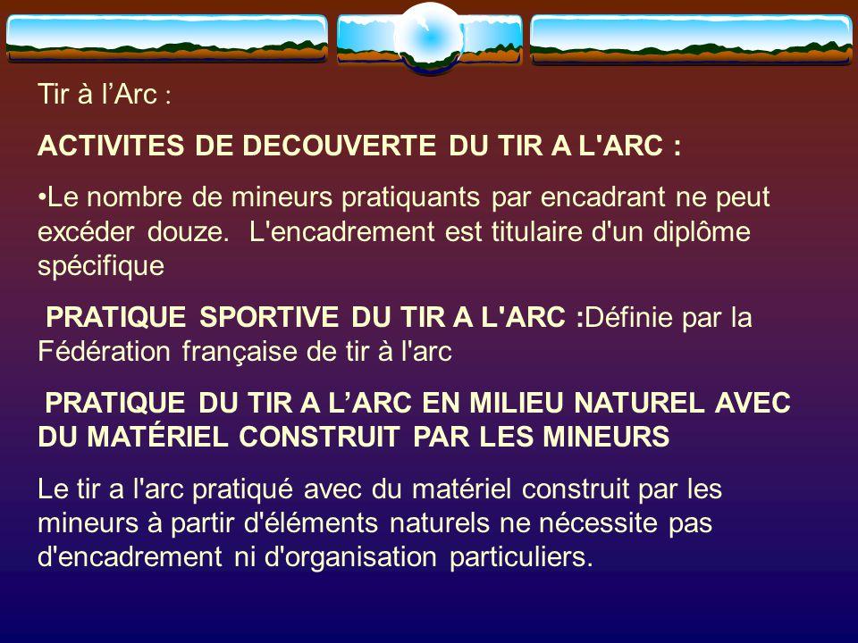 Tir à l'Arc : ACTIVITES DE DECOUVERTE DU TIR A L ARC :