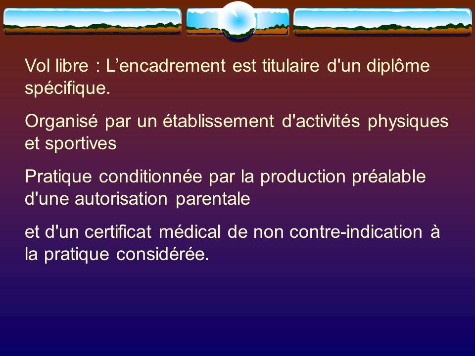 Vol libre : L'encadrement est titulaire d un diplôme spécifique.