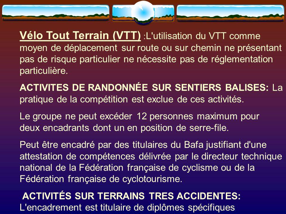 Vélo Tout Terrain (VTT) :L utilisation du VTT comme moyen de déplacement sur route ou sur chemin ne présentant pas de risque particulier ne nécessite pas de réglementation particulière.