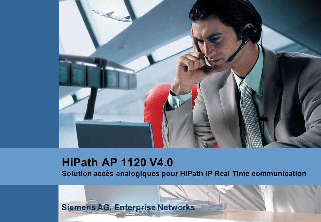 HiPath AP 1120 V4.0 Solution accès analogiques pour HiPath IP Real Time communication