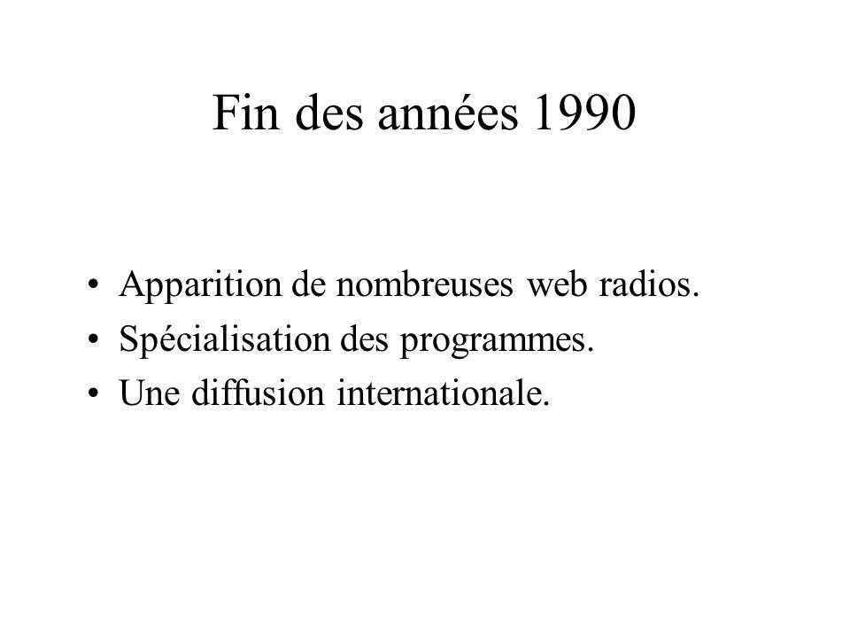 Fin des années 1990 Apparition de nombreuses web radios.