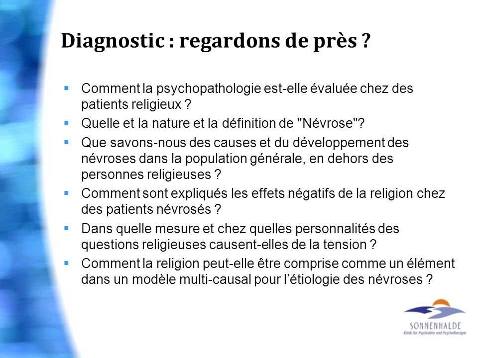 Diagnostic : regardons de près