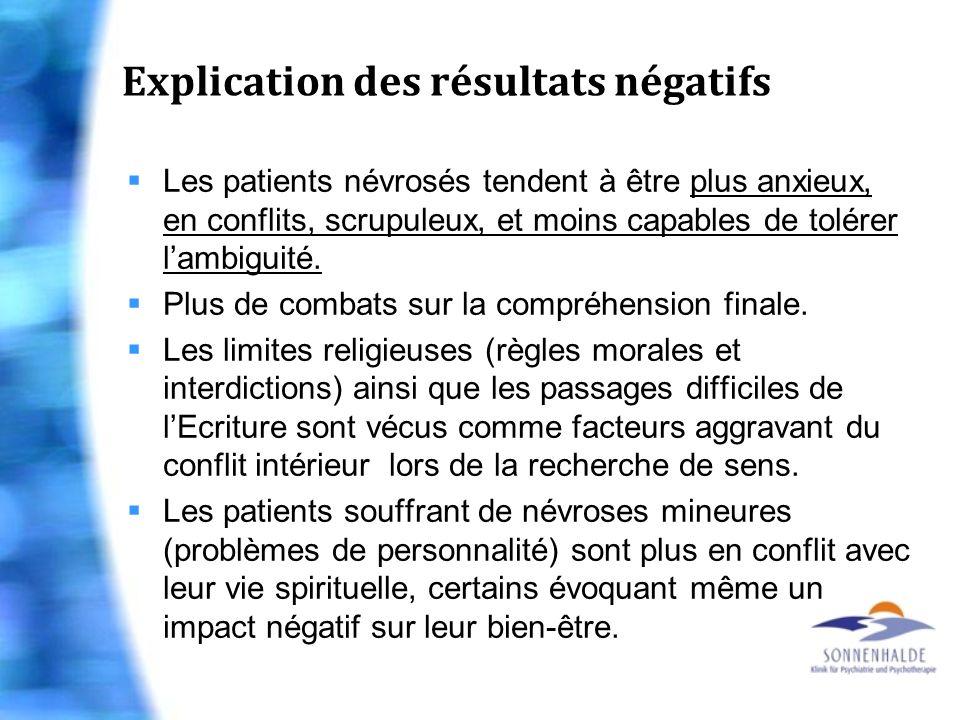 Explication des résultats négatifs