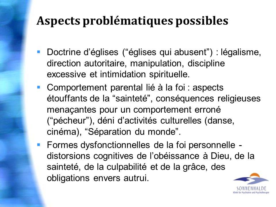 Aspects problématiques possibles