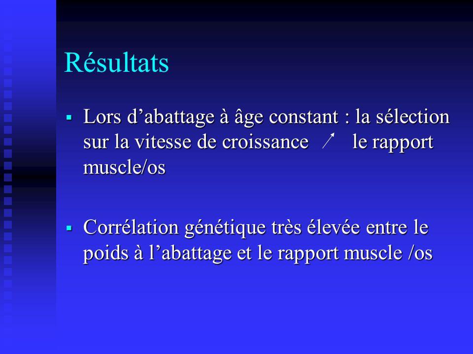 Résultats Lors d'abattage à âge constant : la sélection sur la vitesse de croissance le rapport muscle/os.