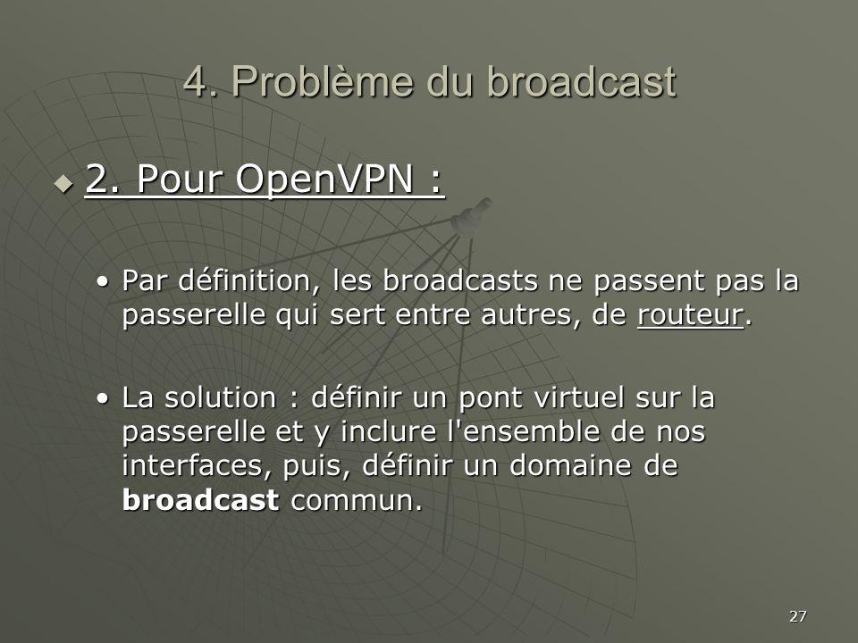 4. Problème du broadcast 2. Pour OpenVPN :